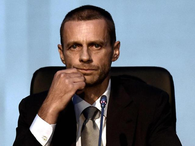 Uefa's newly-elected president, Slovenian Aleksander Ceferin, delivers a speech following the vote during the 12th Extraordinary Uefa congress in Lagonissi, some 40 kilometers south of Athens, on September 14, 2016.
