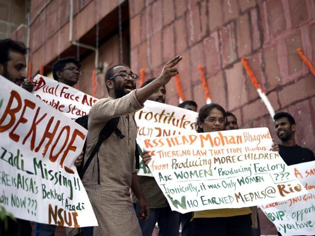 Students protest in JNU as an earlier rape case from the campus turned political.