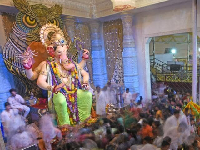 The Lalbaugcha Raja is perceived to be the fulfiller of wishes, and the pandal attracts millions of visitors every year.
