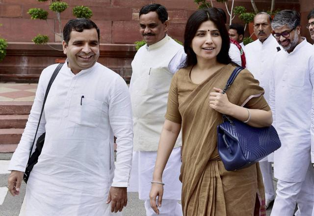 Samajwadi Party MP Dimple Yadav with party leaders at Parliament house during the monsoon session in New Delhi. (PTI Photo)