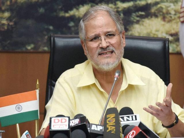 Lieutenant governor of Delhi Najeeb Jung at a press conference in New Delhi.