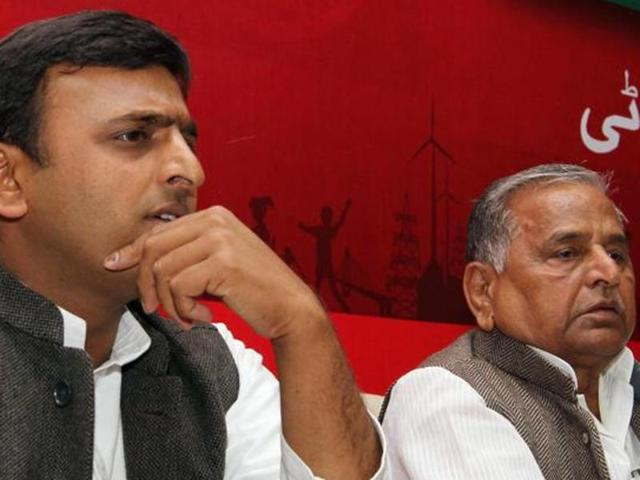Uttar Pradesh chief minister Akhilesh Yadav and his father and Samajwadi Party chief Mulayam Singh Yadav.