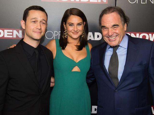 Joseph Gordon-Levitt, left, Shailene Woodley and Oliver Stone attend the premiere of Snowden at AMC Loews Lincoln Square.
