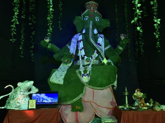 Shree Asthavinayak Mitra Mandal at Fort celebrates its 5th year of eco-friendly Ganpati festival in Mumbai on Tuesday.
