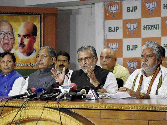 BJP leader Sushil Modi addresses a press conference aftewr former RJD MP Mohammad Shahabuddin was granted bail, in Patna.