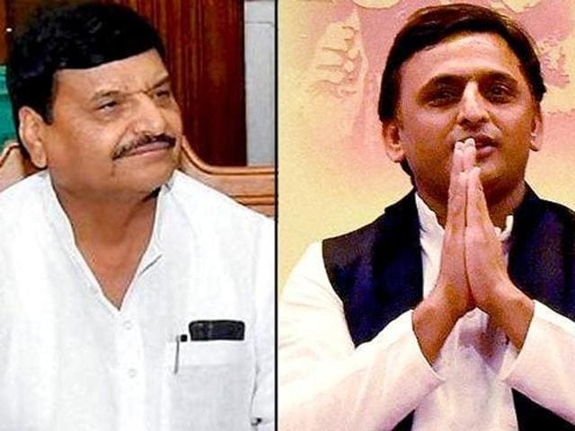 A combination photo shows UP cabinet minister Shivpal Yadav and chief minister Akhilesh Yadav.