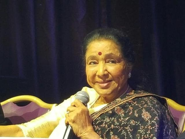 """Asha Bhosle during a news conference at Leicester Square, London, on Wednesday ahead of her """"Farewell Tour"""" of Britain with performances in Birmingham on Saturday and London on Sunday."""