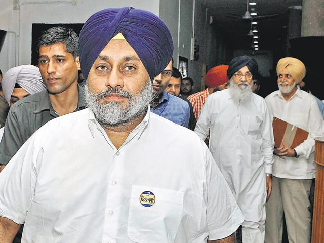 Deputy CM Sukhbir Badal and CM Parkash Singh Badal entering the assembly in Chandigarh on Wednesday.