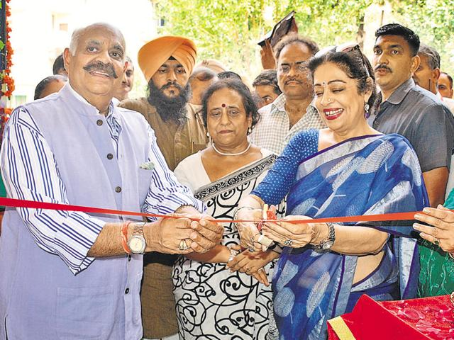 UT administrator VP Badnore with MP Kirron Kher inaugurating the new building of government school at Manimajra in Chandigarh on Wednesday.