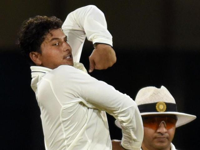 India Red Bowler Kuleep Yadav in action against India Blue during the Duleep Trophy.