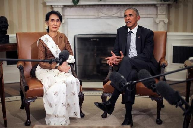US President Barack Obama talks to the media as he meets with Myanmar's state counsellor Aung San Suu Kyi at the Oval Office of the White House.