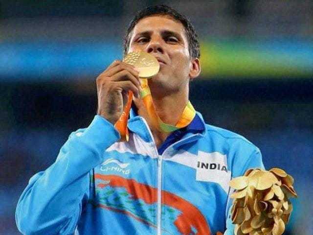 India's Devendra Jhajharia competes in the men's javelin throw F46 final of the Paralympic Games.