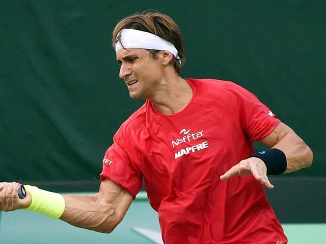 Spain's David Ferrer during a practice session in New Delhi on Monday ahead of the Davis Cup tie.