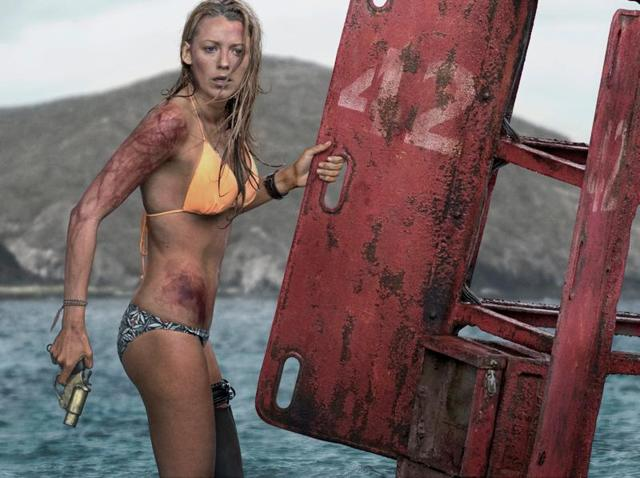 Blake Lively brings a gun to a shark fight.(Sony)