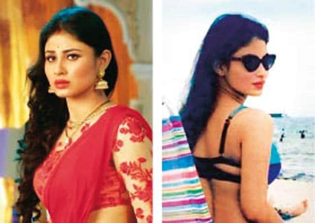 Mouni Roy (left) in her on-screen sanskari avatar, and (right) slaying in a bikini