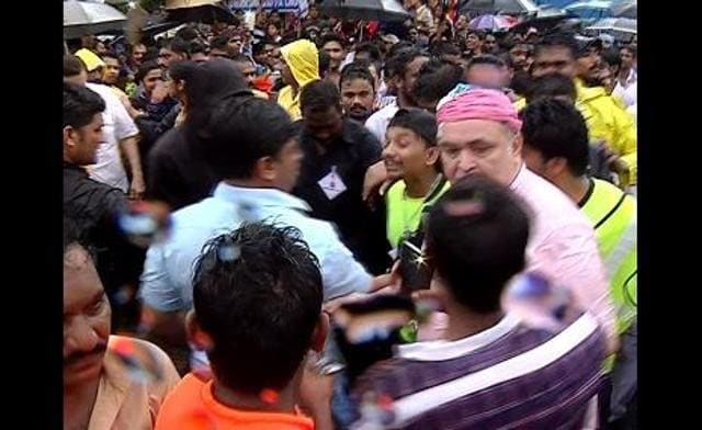 Rishi Kapoor in a still from the video where he is seen slapping the reporter.