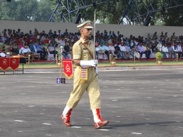 Gul Junaid Khan during his passing out parade at the CRPF academy in Gurgaon.