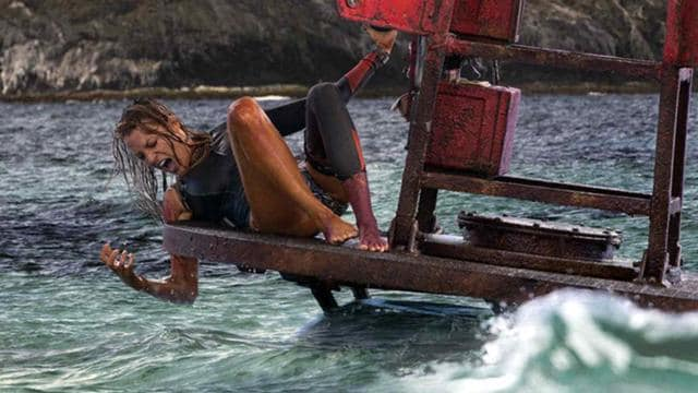 Blake Lively plays a seasoned surfer who bobs into shark-infested waters just off a secluded Mexican shore.