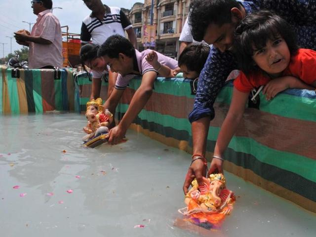 The Ganpati idol of Palda en route to Mumbai for immersion.