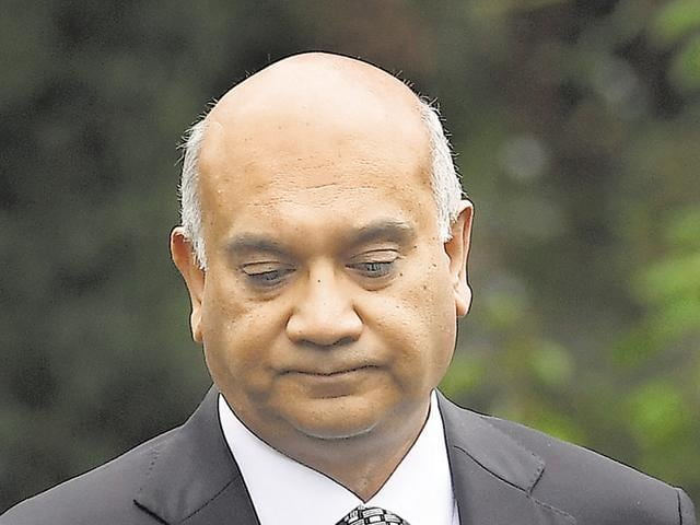 File photo of British opposition Labour Party MP Keith Vaz leaving his home in northwest London on September 6.