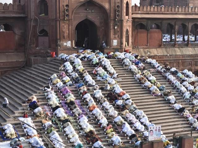 Muslims pray during Eid al-Adha at Jama Masjid in New Delhi, on September 13, 2016.
