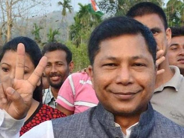 Meghalaya chief minister Mukul Sangma arrives for a Congress rally at Santipur village in Kamrup.