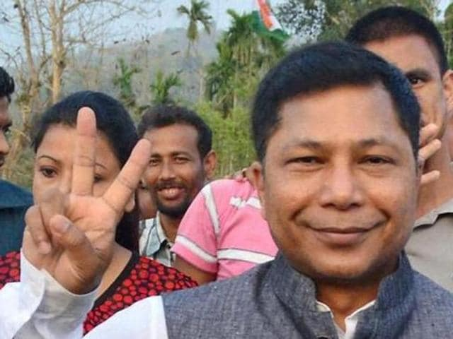 In this file photo, Meghalaya CM Mukul Sangma can be seen campaigning for the Congress party in Assam.