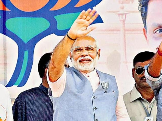 Prime Minister Narendra Modi at an election rally for the BJP this year.