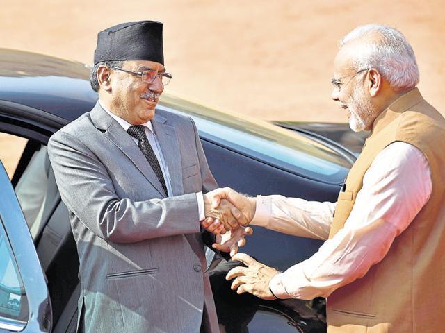 Prime Minister Narendra Modi welcomes his Nepalese counterpart Pushpa Kamal Dahal Prachanda at the Rashtrapati Bhavan in New Delhi on Friday.