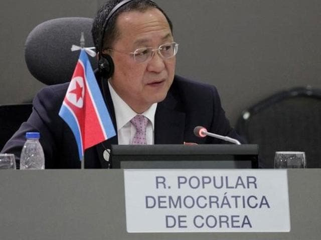 North Korea's foreign minister Ri Yong-ho speaks during the 17th Non-Aligned Summit in Porlamar, Venezuela on Thursday