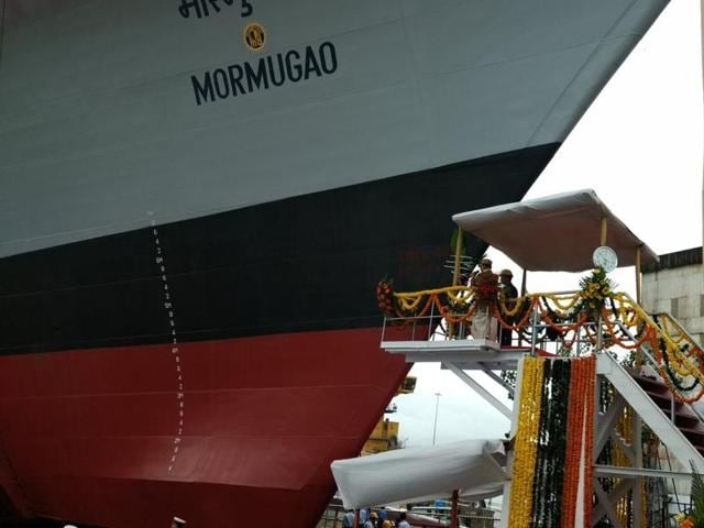 The second ship of the Project 15B, a guided missile destroyer christened 'Mormugao' for Indian Navy, was launched in Mumbai.