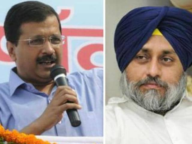 AAP national convener Arvind Kejriwal and SAD chief Sukhbir Singh Badal