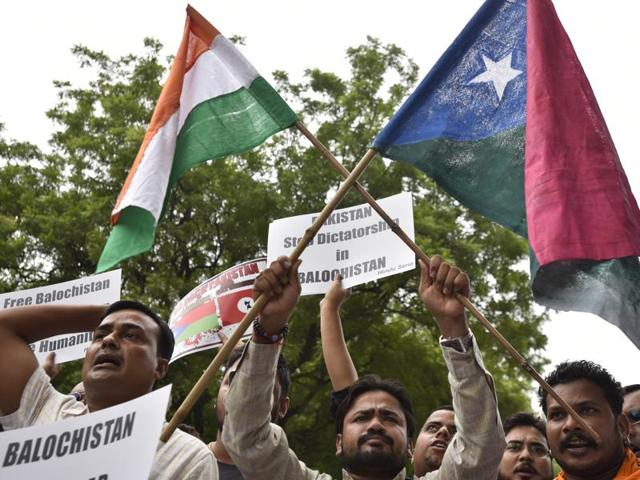 "Hindu Sena members stage a protest to support Balochistan at Jantar-Mantar in New Delhi in August. Pakistan has said that the sudden Indian focus on Balochistan was consistent with their ""playbook of seeking to distract attention from the repression unleashed in Kashmir""."