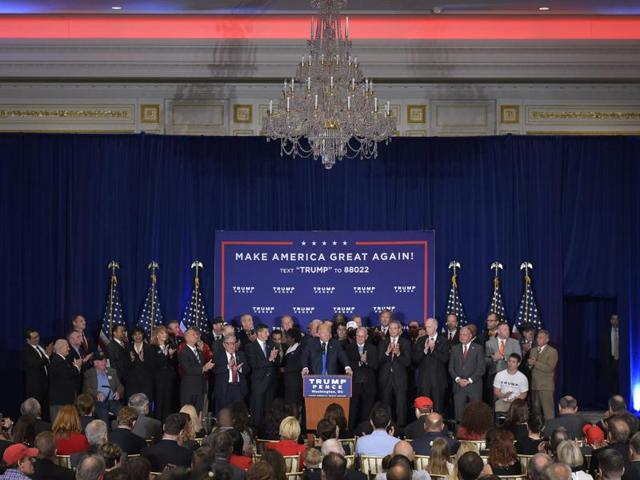 Republican presidential nominee Donald Trump speaks during a press conference with Medal of Honor recipients and veterans during a press conference at the Trump International Hotel, in Washington.