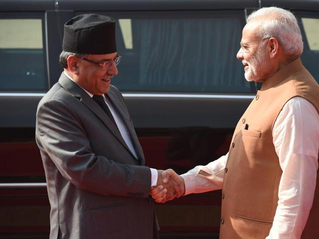 Prime Minister Narendra Modi (R) with Prime Minister of Nepal Pushpa Kamal Dahal 'Prachanda'. Prachanda made it clear that relations with India were unique and recognised that Nepal needed India for its success, development and stability