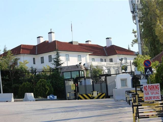 The entrance of the British Embassy in Ankara is pictured on Friday. Turkish authorities detained four people as part of an investigation into a possible threat to the German and British embassies, state-run media reported.