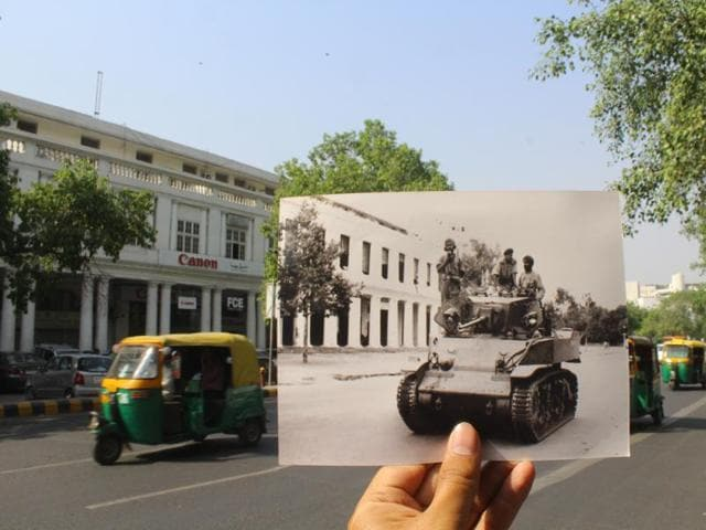 An army tank crossing Outer Circle, Connaught Place to curb the partition riots in Delhi in 1947.