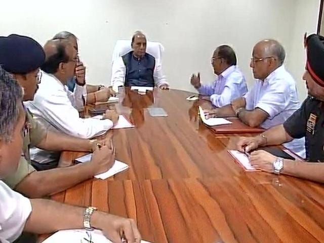 Union home minister Rajnath Singh chairs a high-level security meet to take stock of the situation after a militant attack in Uri.(ANI Photo)