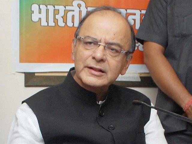 Arun Jaitley addresses a press conference in Jalandhar on Sunday.