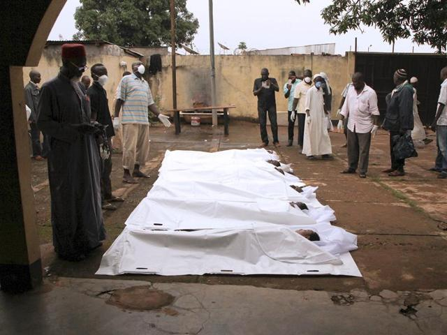 Corpses lie on the ground at Ali Babolo mosque in Bangui. Sixteen people have been killed in two days of clashes between Fulani herdsmen and the mainly Muslim Seleka militia in the Central African Republic.
