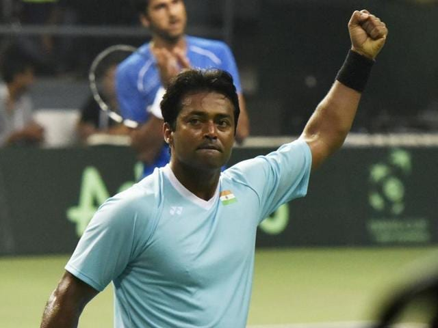 India's Leander Paes and Saketh Myeni celebrate the point against Spain's Rafael Nadal and Marc Lopez.