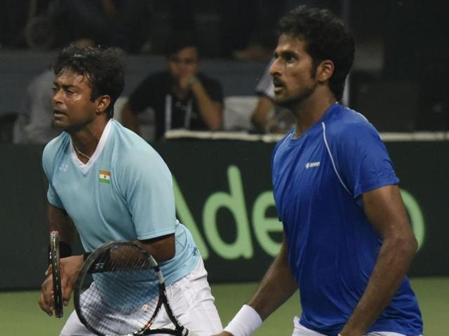 India's Leander Paes and Saketh play against Nadal and Marc Lopez during Davis Cup.