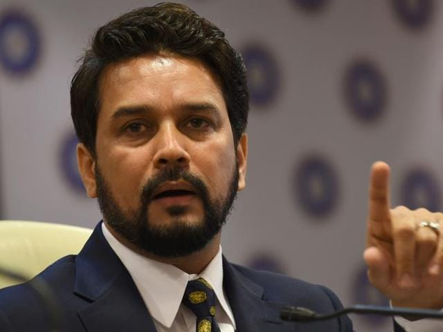 Anurag Thakur, president of Board of Control for Cricket in India (BCCI), gestures during a news conference.