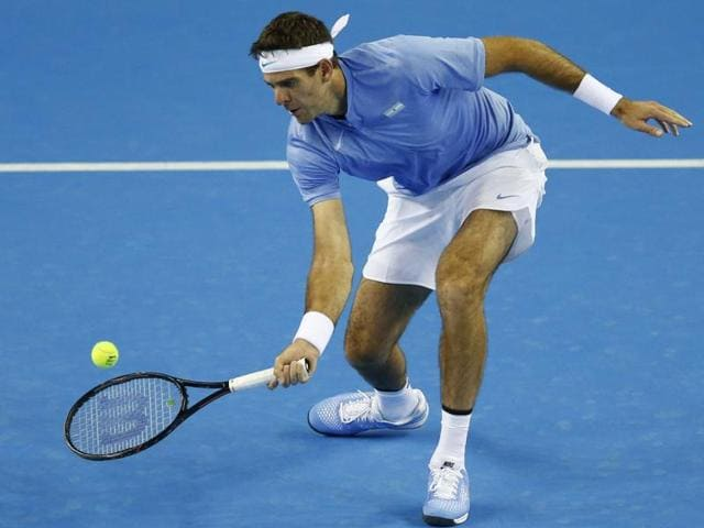 Argentina's Juan Martin del Potro in action against Great Britain's Andy Murray.