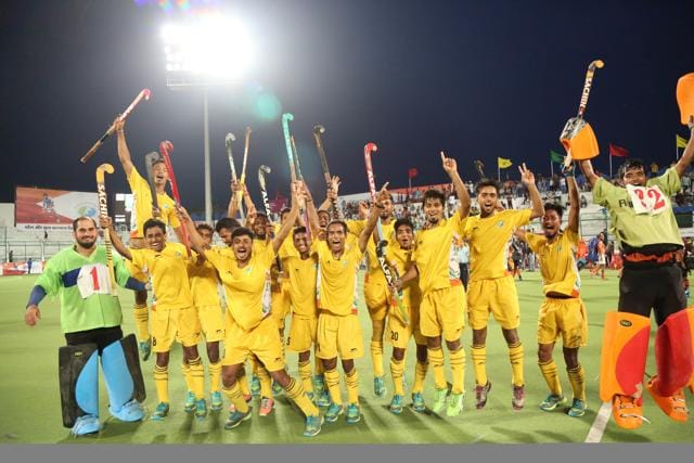MP state hockey academy team celebrating victory against Air India during Obaidullah Khan heritage cup hockey tournament at Aishbagh stadium in Bhopal.