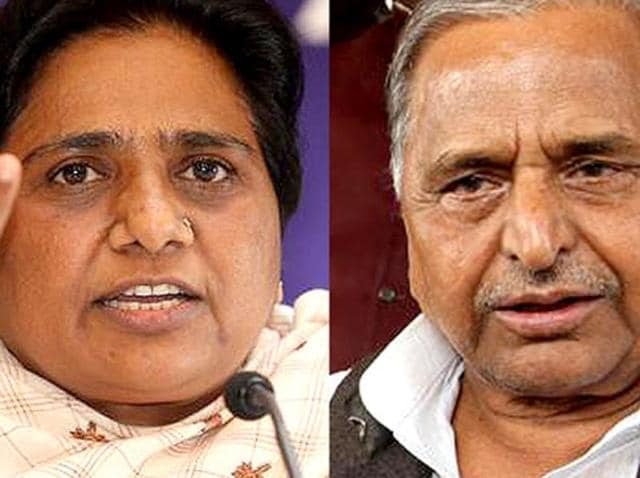 A combination picture of Mulayam Singh Yadav and Mayawati