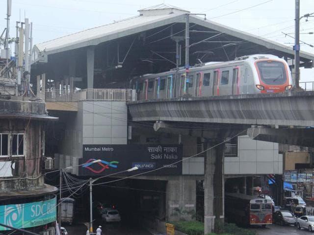 The Saki Naka metro station where the mishap took place on Sunday morning.