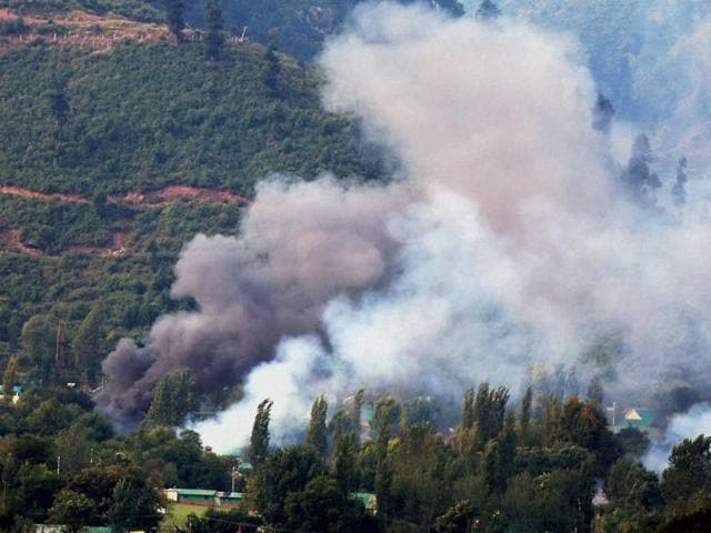 Smoke rises from the army brigade camp during a terror attack in Uri, Jammu and Kashmir.