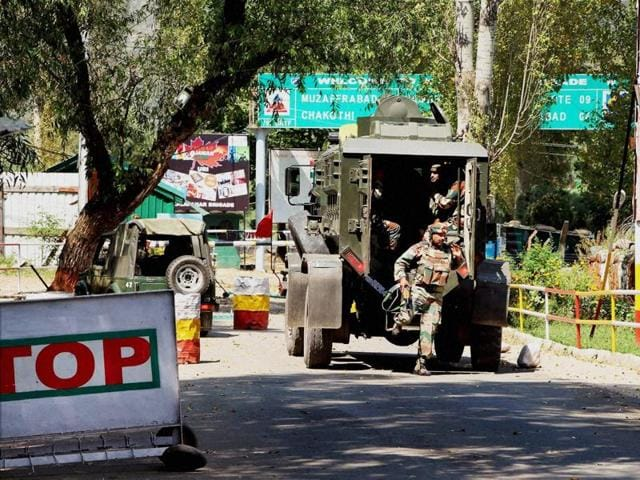 Army personnel inside the Army Brigade camp during a terror attack in Uri, Jammu and Kashmir.