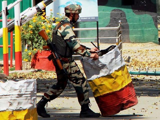 An Indian Army soldier at the Indian Army's Brigade camp during a terror attack in Uri, Jammu and Kashmir on Sunday.